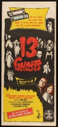 5a554 13 GHOSTS Aust daybill 60 William Castle spooky art cool horror in ILLUSION-O