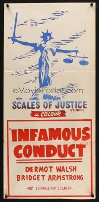 5a851 SCALES OF JUSTICE Aust daybill 70s Infamous Conduct cool artwork