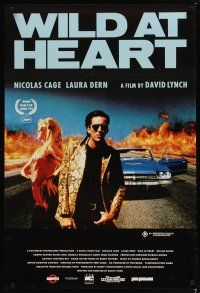 5e066 WILD AT HEART Aust 1sh '90 David Lynch, sexiest image of Nicolas Cage & Laura Dern!