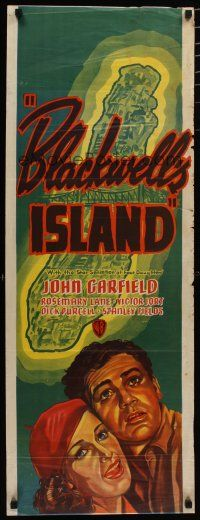 5e042 BLACKWELL'S ISLAND long Aust daybill '39 art of John Garfield & sexy Rosemary Lane!