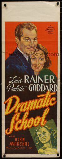 5e043 DRAMATIC SCHOOL long Aust daybill '38 art of Luise Rainer, Paulette Goddard!