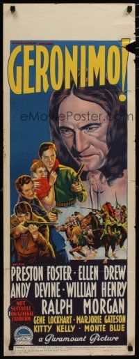 5e045 GERONIMO long Aust daybill '39 Richardson Studio art of Foster, Drew & Thundercloud!