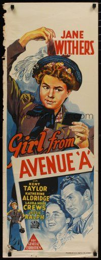 5e046 GIRL FROM AVENUE A long Aust daybill '40 cool different artwork of Jane Withers!