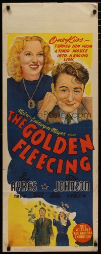 5e047 GOLDEN FLEECING long Aust daybill '40 cool art of Rita Johnson & Lew Ayres!