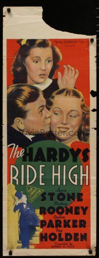 5e048 HARDYS RIDE HIGH long Aust daybill '39 Cecilia Parker, millionaire playboy Mickey Rooney!