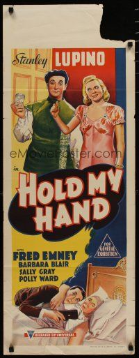 5e049 HOLD MY HAND long Aust daybill '38 Stanley Lupino, Fred Emney, Barbara Blair, wacky art!