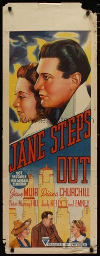 5e050 JANE STEPS OUT long Aust daybill '38 cool artwork of Diana Churchill & Peter Murray-Hill!