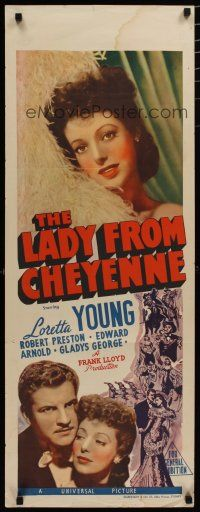 5e053 LADY FROM CHEYENNE long Aust daybill '41 great close-up of pretty Loretta Young, Preston!