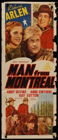 5e056 MAN FROM MONTREAL long Aust daybill '39 Mounties Richard Arlen & Andy Devine save the day!