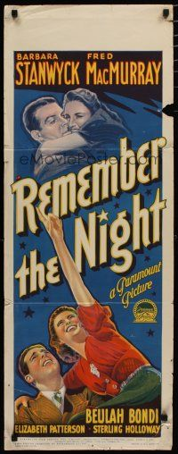 5e059 REMEMBER THE NIGHT long Aust daybill '40 Richardson Studio art of Stanwyck & MacMurray!