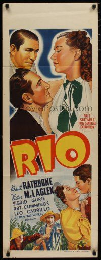 5e060 RIO long Aust daybill '39 cool art of Rathbone, McLaglen, Gurie, Robert Cummings, Carrillo!