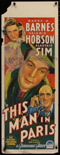 5e061 THIS MAN IN PARIS long Aust daybill '40 Richardson Studio art of Barnes & Valerie Hobson!