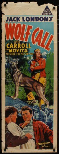 5e063 WOLF CALL long Aust daybill '39 from Jack London novel, art of John Carroll, Movita!