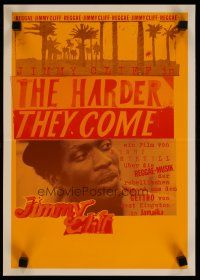 5e021 HARDER THEY COME German 12x17 '80 Jimmy Cliff, Jamaican reggae music, really cool art!