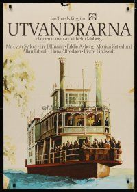 5e069 EMIGRANTS Swedish '71 Liv Ullmann, Max Von Sydow, Jan Treoll, great art of riverboat!