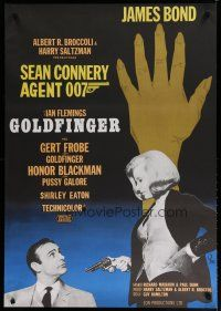 5e071 GOLDFINGER Swedish R67 Honor Blackman holding gun on Sean Connery as James Bond, different!