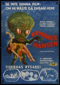 5e074 INVASION OF THE SAUCER MEN Swedish '61 best art of cabbage head alien & sexy girl + photos!