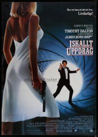5e076 LIVING DAYLIGHTS Swedish '87 Timothy Dalton as James Bond & sexy Maryam d'Abo with gun!