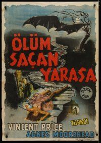 5e029 BAT Turkish '59 great art of Vincent Price & sexy fallen girl, when it flies, someone dies!