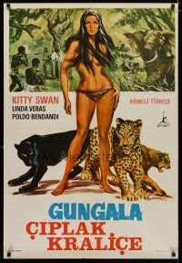 5e032 GUNGALA THE BLACK PANTHER GIRL Turkish '68 art of sexy jungle babe Kitty Swan!
