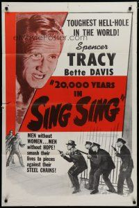 5h004 20,000 YEARS IN SING SING 1sh R56 Bette Davis & Spencer Tracy in the toughest hell-hole!