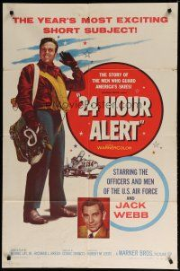 5h005 24 HOUR ALERT 1sh '56 great image of U.S. Air Force pilot holding gear + Jack Webb!