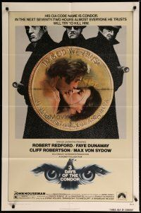 5h006 3 DAYS OF THE CONDOR 1sh '75 CIA analyst Robert Redford & Faye Dunaway!