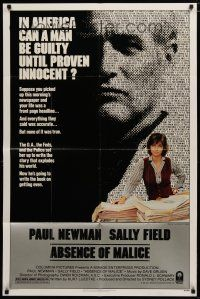 5h013 ABSENCE OF MALICE 1sh '81 Paul Newman, Sally Field, Sydney Pollack, cool design!
