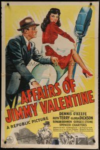 5h018 AFFAIRS OF JIMMY VALENTINE 1sh '42 art of Dennis O'Keefe and sexy girl in red dress!