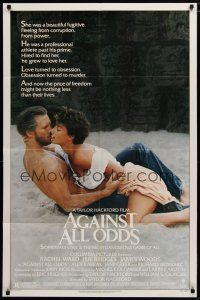 5h020 AGAINST ALL ODDS 1sh '84 Jeff Bridges makes out with Rachel Ward on the beach!