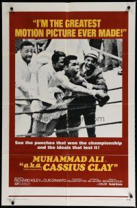 5h011 A.K.A. CASSIUS CLAY 1sh '70 image of heavyweight champion boxer Muhammad Ali in the ring!