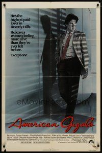 5h033 AMERICAN GIGOLO 1sh '80 handsomest male prostitute Richard Gere is being framed for murder!