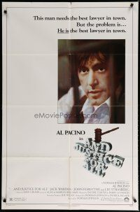 5h038 AND JUSTICE FOR ALL 1sh '79 directed by Norman Jewison, Al Pacino fights back!