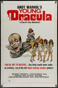5h041 ANDY WARHOL'S DRACULA 1sh '74 different cartoon art of Young Dracula Udo Kier & sexy girls!