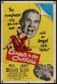 5h044 ANGELS IN THE OUTFIELD 1sh '51 artwork of Paul Douglas & sexy Janet Leigh, baseball!