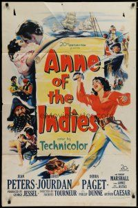 5h046 ANNE OF THE INDIES 1sh '51 artwork of history's fabulous pirate queen Jean Peters!