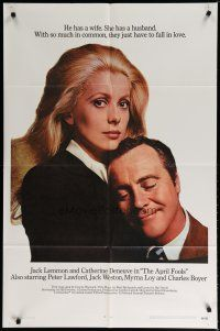 5h049 APRIL FOOLS 1sh '69 Jack Lemmon & Catherine Deneuve are married but not to each other!