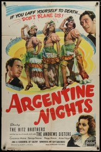 5h051 ARGENTINE NIGHTS 1sh R48 The Ritz Brothers, The Andrews Sisters, laff yourself to death!