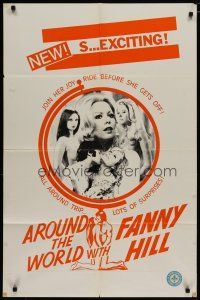 5h053 AROUND THE WORLD WITH FANNY HILL Canadian 1sh '74 sexy Shirley Corrigan, a lady of pleasure!