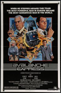 5h059 AVALANCHE EXPRESS 1sh '79 Lee Marvin, Robert Shaw, cool action art by Larry Salk!