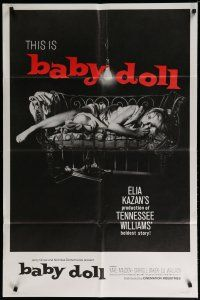 5h060 BABY DOLL 1sh R70 Elia Kazan, classic image of sexy troubled teen Carroll Baker!