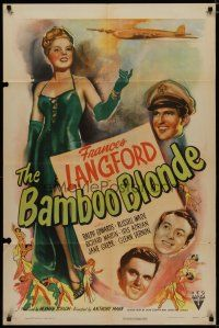 5h067 BAMBOO BLONDE style A 1sh '46 art of super sexy elegant Frances Langford & WWII bomber!