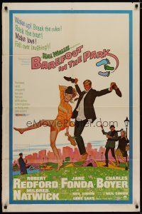 5h071 BAREFOOT IN THE PARK 1sh '67 artwork of frollicking Robert Redford & sexy Jane Fonda!