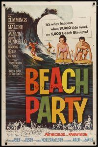 5h078 BEACH PARTY 1sh '63 Frankie Avalon & Annette Funicello riding a wave on surf boards!
