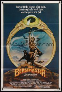 5h079 BEASTMASTER 1sh '82 cool fantasy art of barechested Marc Singer & sexy Tanya Roberts!