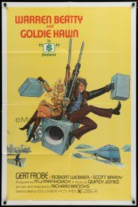 5h002 $ safe style 1sh '71 great art of bank robbers Warren Beatty & Goldie Hawn on safe!