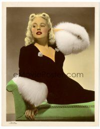 5k060 MARY BETH HUGHES color glos 8x10.25 still '30s the sexy blonde wearing fur-trimmed gown!