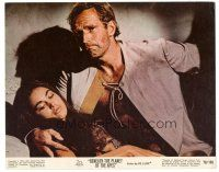 5k008 BENEATH THE PLANET OF THE APES color 8x10 still '70 Charlton Heston holds Linda Harrison!