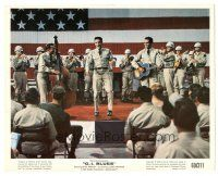 5k033 G.I. BLUES color 8x10 still '60 soldier Elvis Presley performing on stage with military band!