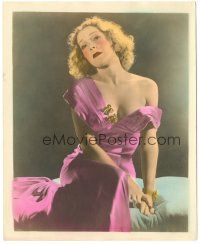 5k039 HELEN VINSON color deluxe 8x10 still '35 seated c/u with her dress falling off her shoulder!